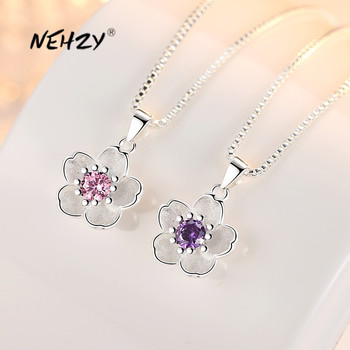 NEHZY-Colgante de flores de zirconia para mujer, de Plata de Ley 925, joyería de alta calidad Rosa Cristal púrpura, collar de longitud 45CM