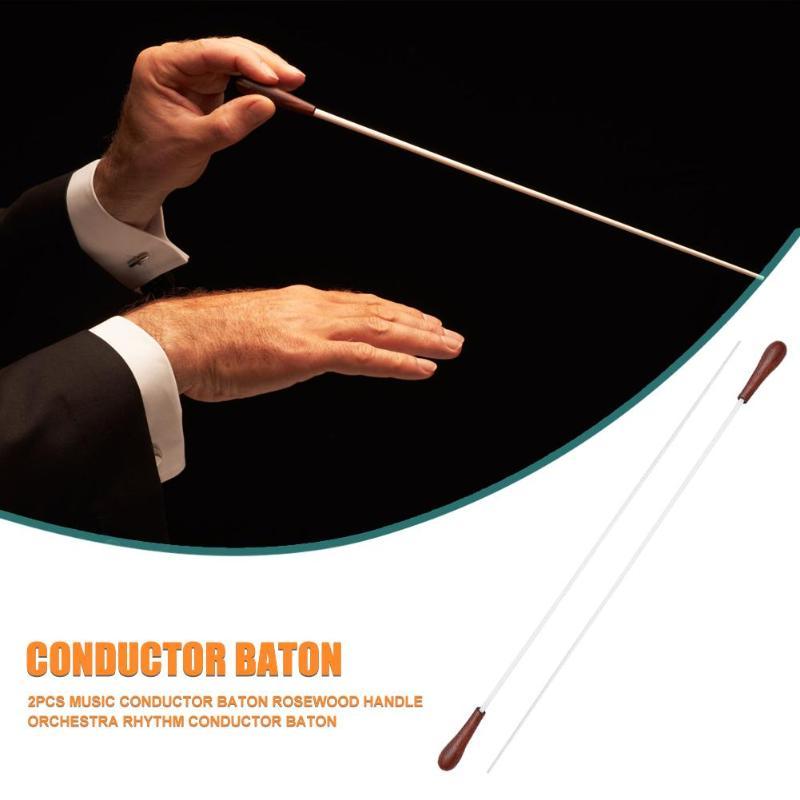Hot Guitar Music Conductor Delicate Design 2x 39cm Music Conductor Baton Rosewood Handle Orchestra Rhythm Conducting Baton