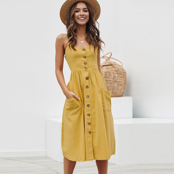 Women's Sexy Summer Midi Dresses Boho Backless Sleeveless Button Striped Dot Solid Midi Dress Slip Sundress With Pockets Robe 5
