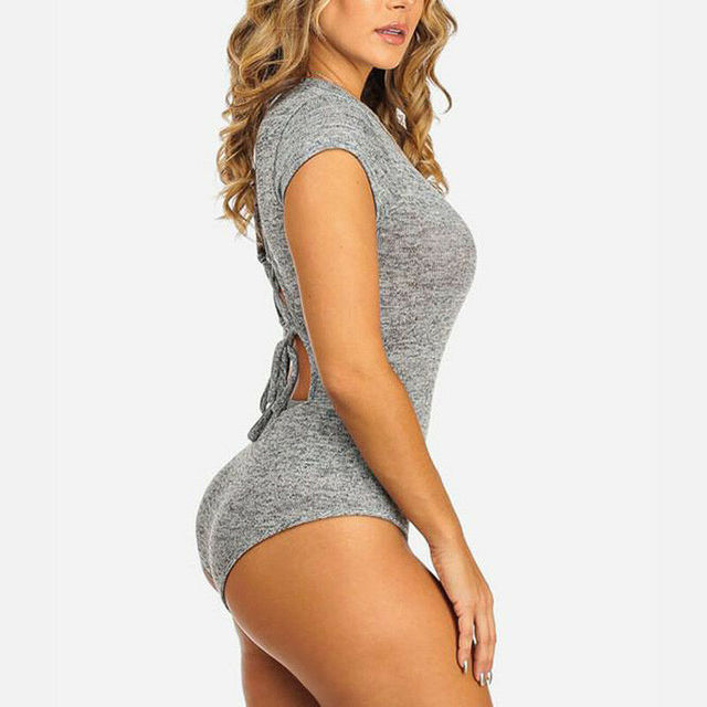 Sexy femmes combinaison barboteuse dos nu à lacets femmes Body Stretch dames justaucorps hauts chemise combishort