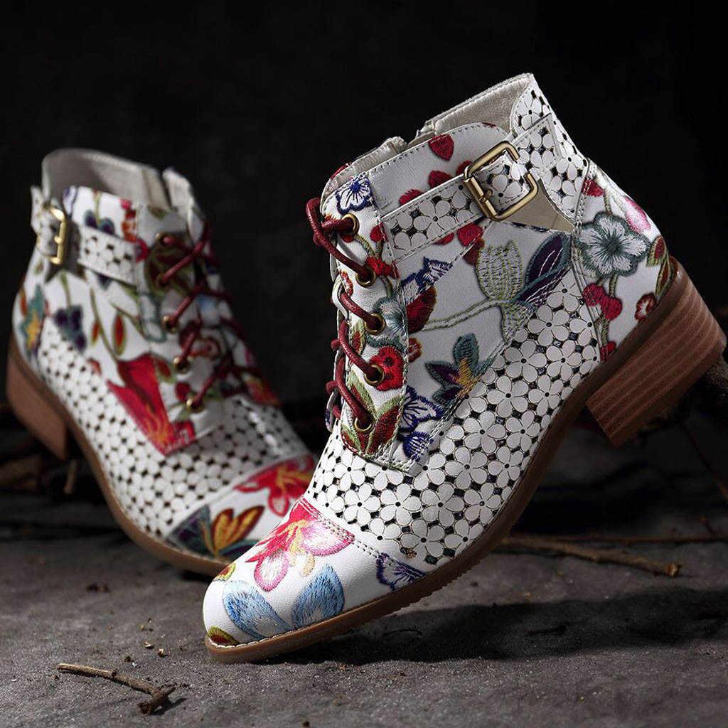 2019 ใหม่ผู้หญิงรองเท้าหมึกภาพวาด Elegant ดอกไม้รูปแบบวัวหนัง Splicing พิมพ์ Lace-Up เย็บข้อเท้าสแควร์ส้นรองเท้า