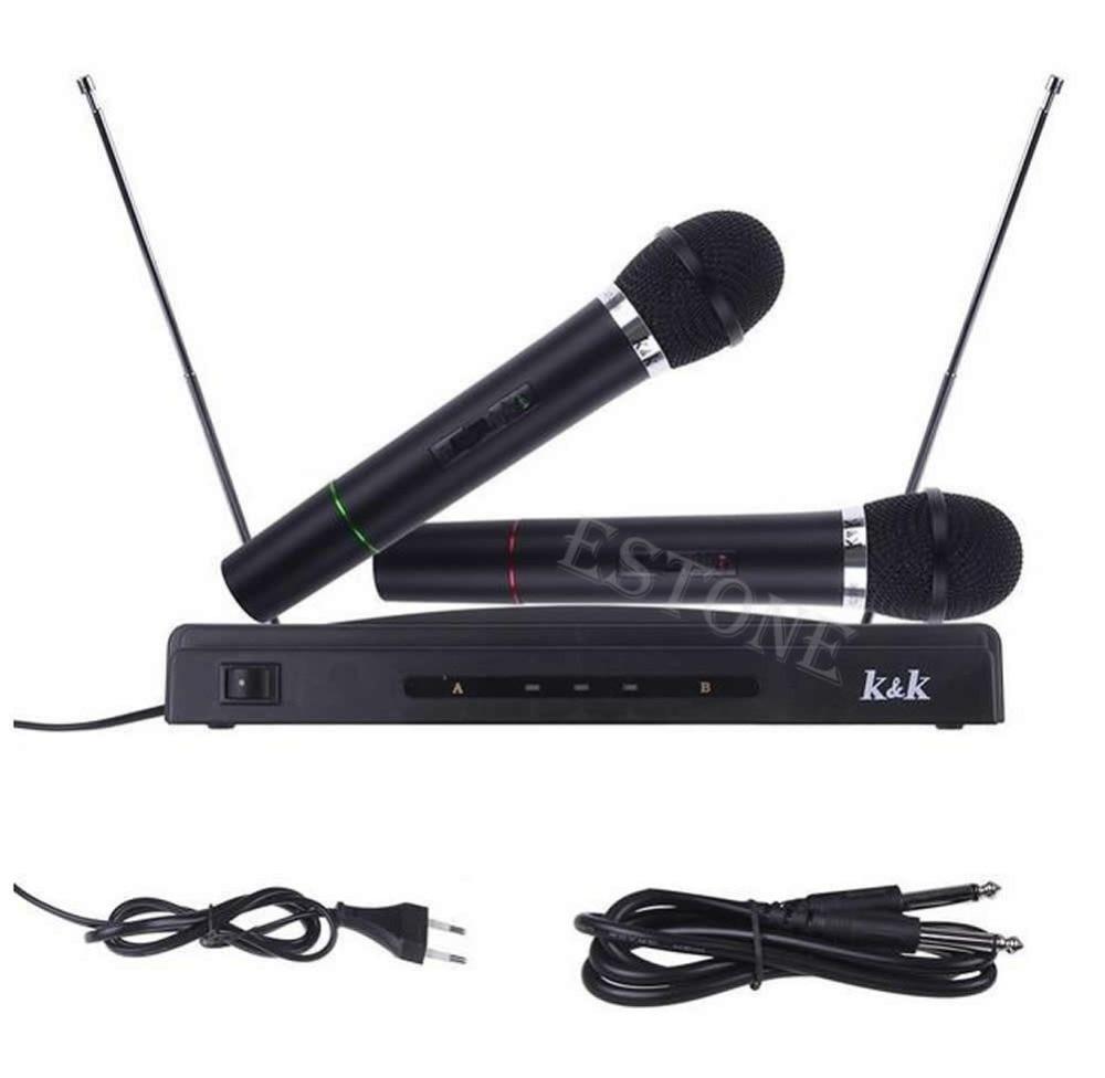 Duplo 2 microfones handheld sem fio sistema