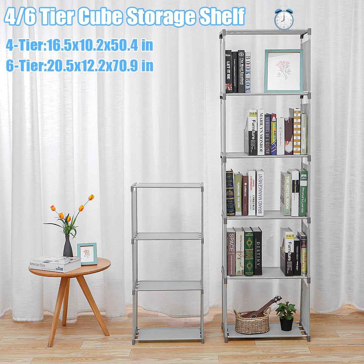 4/6Tier Cube Bookshelf Storage Shelves Standing Cabinet Display Rack Room DIY Organizer Office Household Bookcase Home Furniture