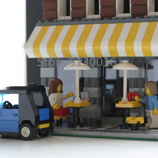 In Stock 15002 Cafe Corner 2133Pcs Creator Street View Model Building Blocks Compatible with 10182 Kids Education Toys