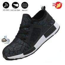 Unisex stalowe obuwie ochronne z podnoskiem lekkie oddychające buty do pracy wygodne buty przemysłowe werkschoenen met stalen neus