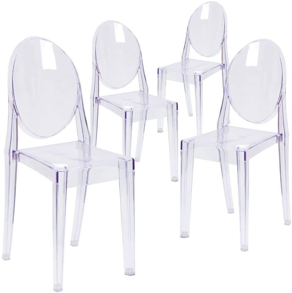 Set of 6 Dining Chairs Transparent Crystal Ghost Chair with Oval Back Modern Makeup Dressing Chair Stackable Garden Chairs Set 9
