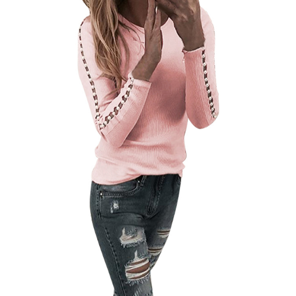 2020 Spring Ladies Crew Neck Casual Jumper Women Beaded Long Sleeve Blouse Top Pullover Femme Slim Hollow Out Shirts