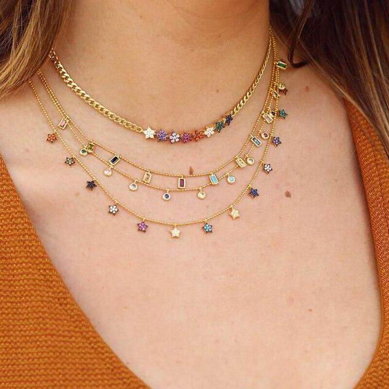 Dreaming с узором из цветов в виде радуги, колье-чокер золотого цвета Блестящий милый CZ Star Pave яркое ожерелье для подруги Свадебная вечеринка Gfts