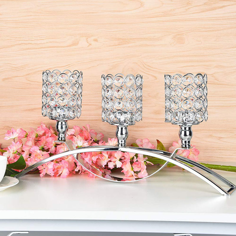 Artificial Crystal Candlestick Wedding Candlestick Table Center Candlestick Tealight Stand Home Decoration Candlestick