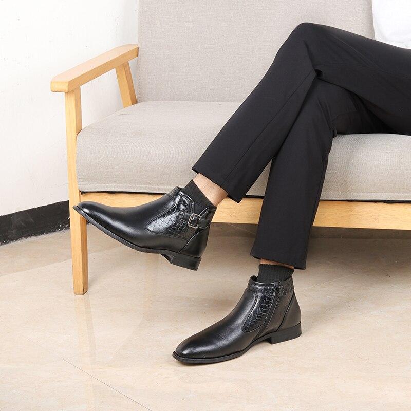 40-46 Men ankle Boots Comfortable Lather Snow Boots 2020 Non-Slip warm men's winter Dress shoes #DM5281C1 2