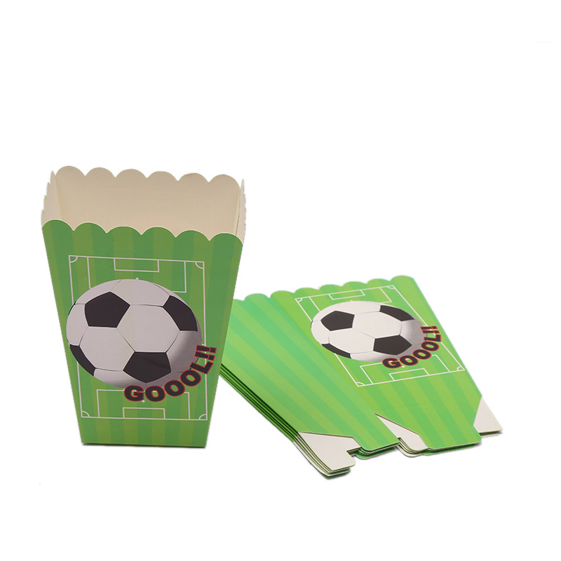 6pcs/lot Football Theme Popcorn Box Festival Party Decoration Soccer Gift Box Accessories Loot Bag Kids Happy Birthday Supplies