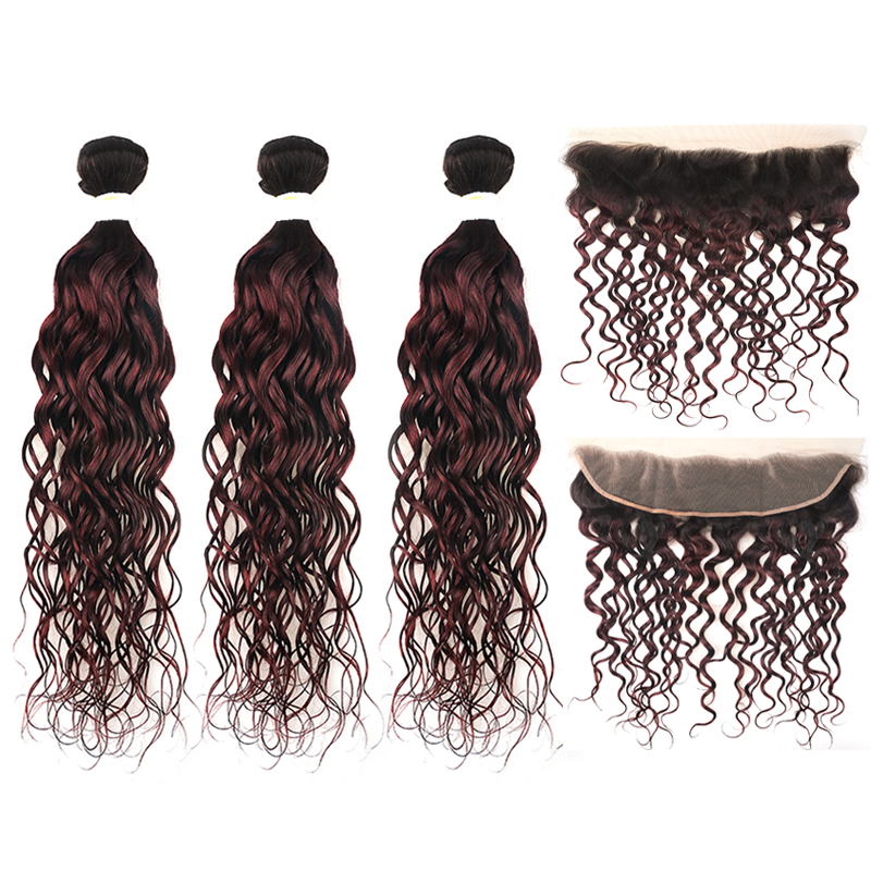 Brazilian Ombre Red Water Wave Hair Bundles With Closure T1B/99J Human Hair Weaving With 13*4 Frontal KEMY HAIR Non-remy 3PCS