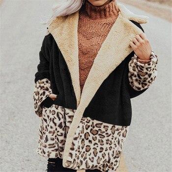Fashion Women Color Block Coat Long Sleeve Lapel Leopard Jacket Csual Loose Autumn and Winter Cardigan Tops
