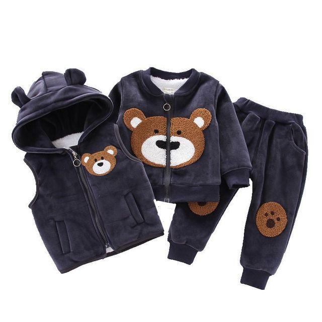 Baby Boys Girls Clothing Set 2019 Winter Fleece Children Cartoon Bear Hoodie Outerwear Outfits Kids Toddler Warm Costume Suit