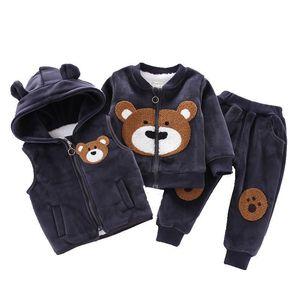 Image 4 - Baby Jungen Mädchen Kleidung Set 2020 Winter Fleece Kinder Cartoon Bär Hoodie Oberbekleidung Outfits Kinder Kleinkind Warme Kostüm Anzug