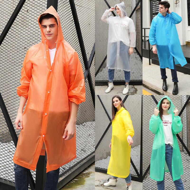 Men Women Waterproof Jacket Clear PE Raincoat Hooded Poncho Rainwear Rain Coat