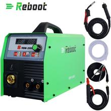 Reboot MIG Welder 200A Gas and Gasless MIG/Stick/Lift TIG/MMA Welder 4 in 1 Flux Core /Solid Wire MIG Inverter Welding Machine dekopro mka 200 200a 4 9kva ip21s inverter arc mig 2 in 1 electric welding machine w replaceable welding gun mma welder