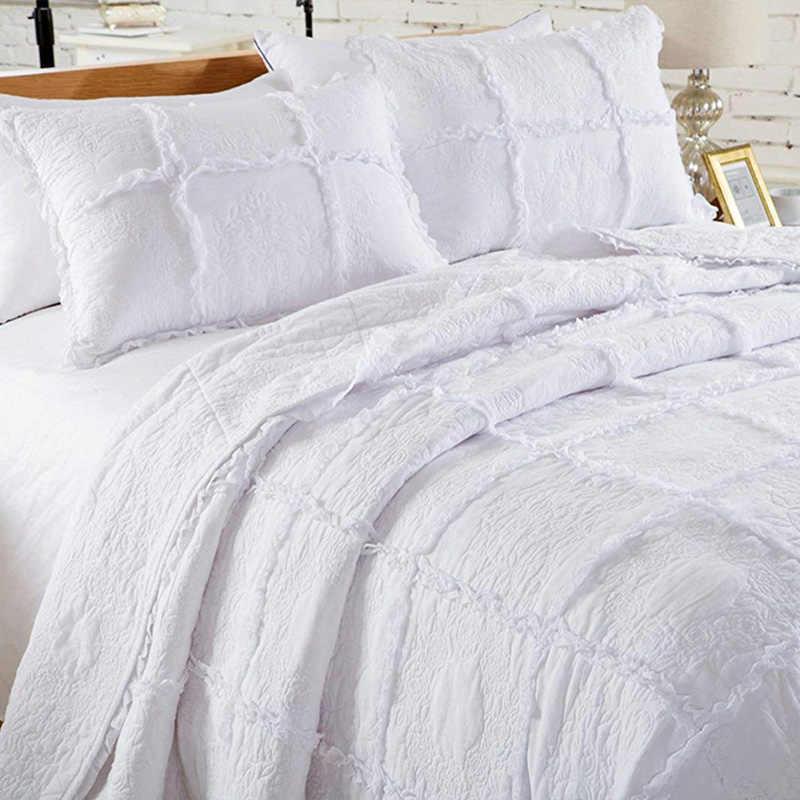 لحاف أبيض مزخرف أمريكي مع غطاء سرير أوروبي 100% قطن الجدي مفرش مبطن