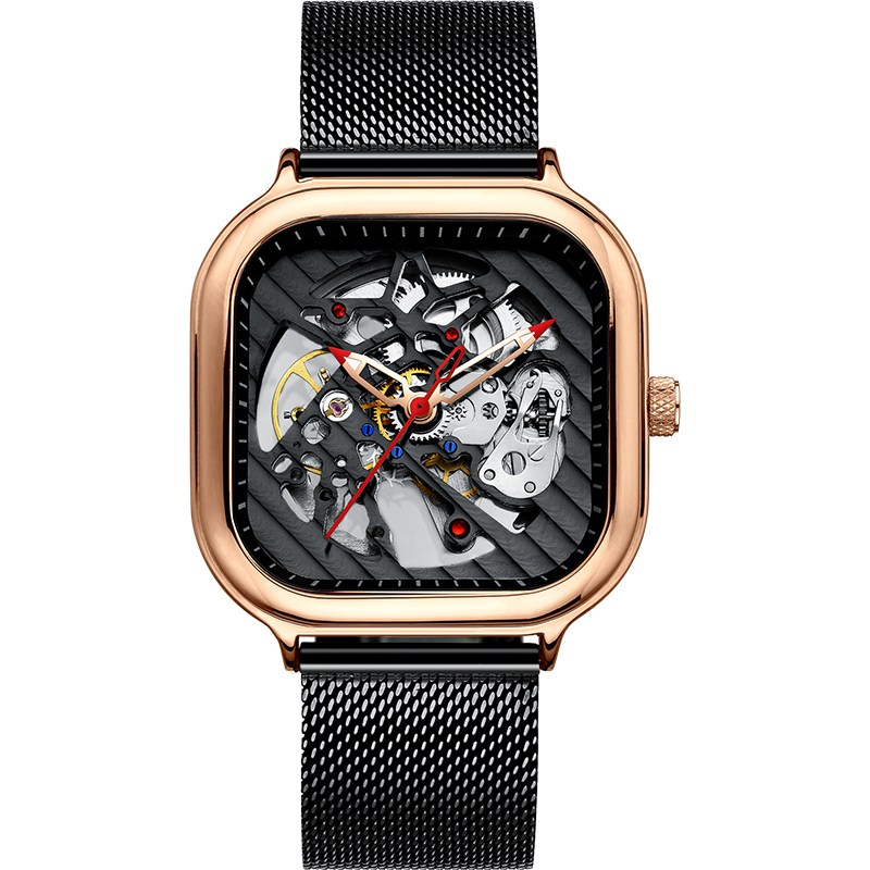 2020 new men's automatic watch top brand luxury silicone strap hollow Swiss square top ten watches 19