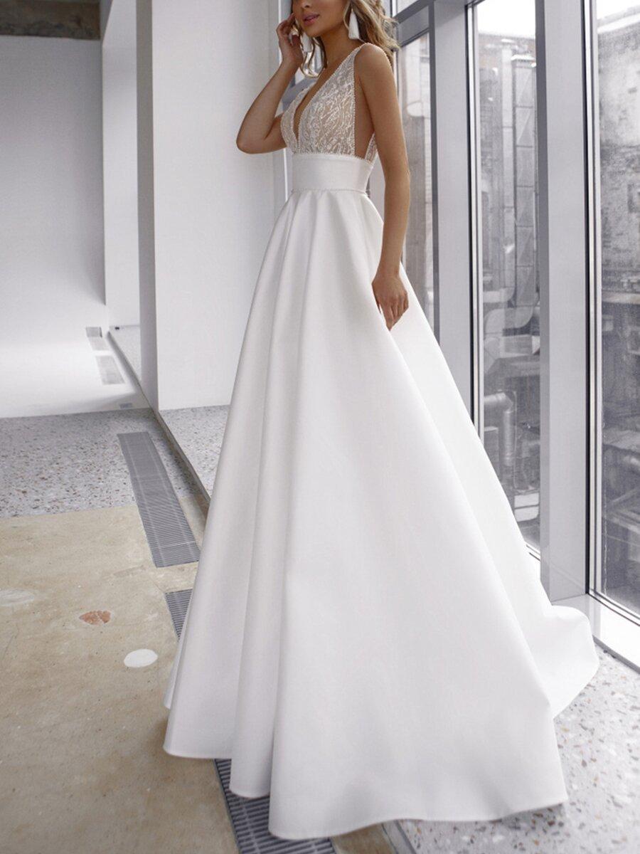 Women Elegant Long Dress Deep V Neck Patchwork Sleeveless White Sling Floor Long Dress Wedding Dress Vestidos Autumn Summer 2021
