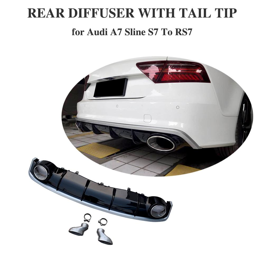 <font><b>A7</b></font> <font><b>Rear</b></font> Bumper Lip <font><b>Diffuser</b></font> With Exhaust Muffler Pipe for <font><b>Audi</b></font> <font><b>A7</b></font> Sline S7 2016 2017 2018 image