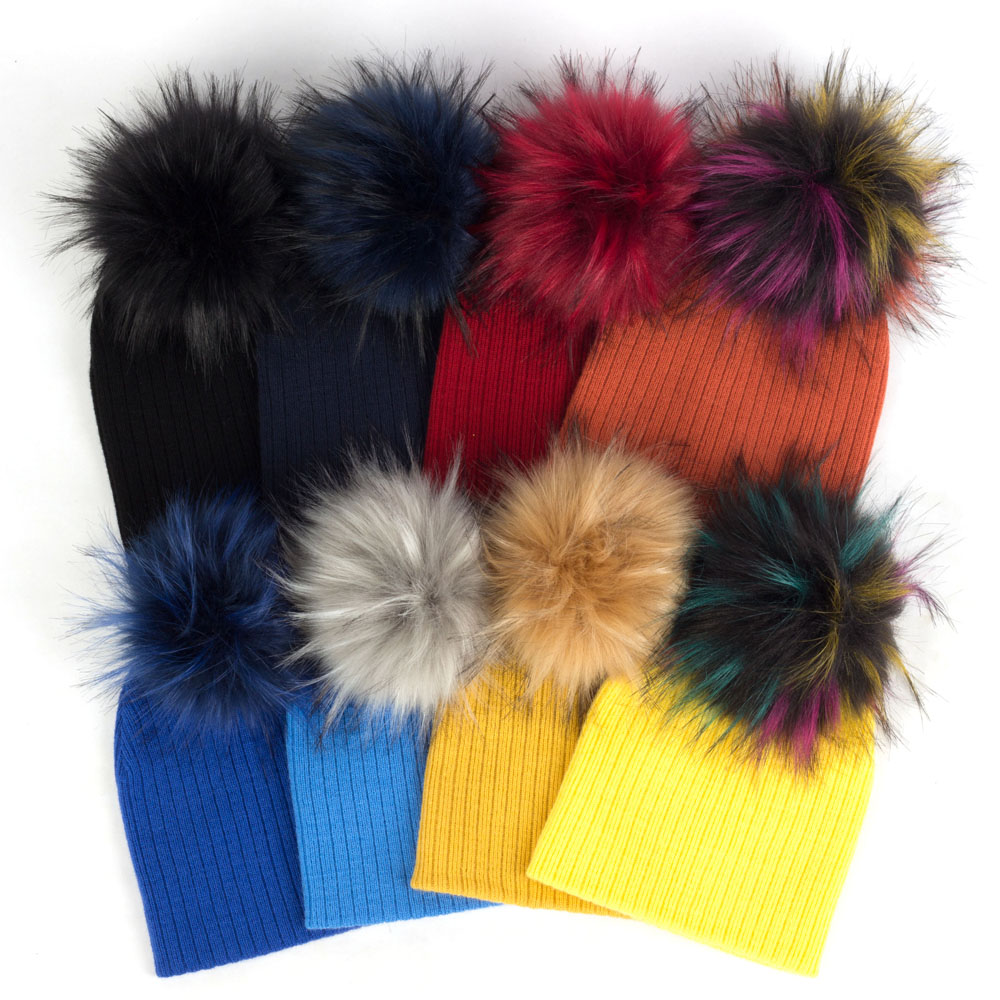 Solid Color Winter Slouchy Skullies Beanies Warm Ear Kids Pom Pom For Toddler Baby Girls Knitted Hairball Hats Cut Hat Pompoms