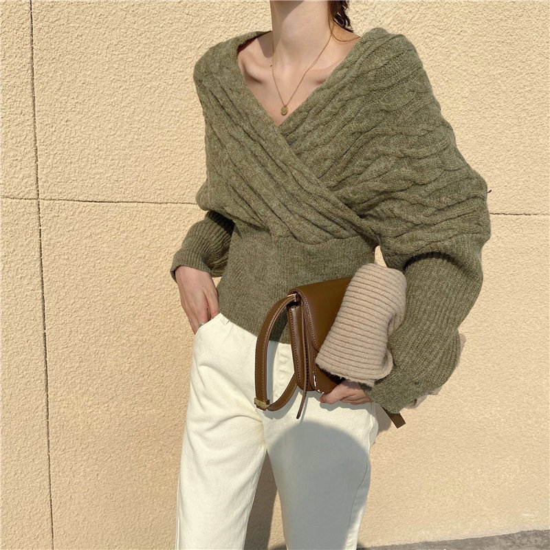 HziriP Casual Twisted V-Neck Autumn Hot Knitted Basic All-Match Girls Office Lady Women Vintage Pullovers Slender Sweaters