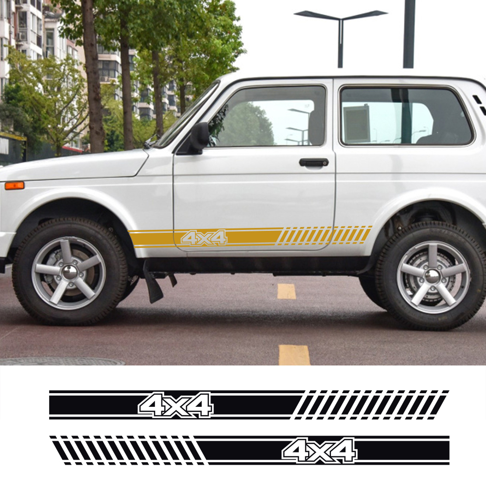 2Pcs Car Long Side Stripes Sticker Vinyl Film Auto DIY Decals For LADA NIVA 4X4 Automobiles Decoration Car Tuning Accessories
