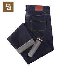 Novo youpin dmn clássico vermelho orelha reta perna jeans de alta qualidade verão casual calças de comprimento total solto