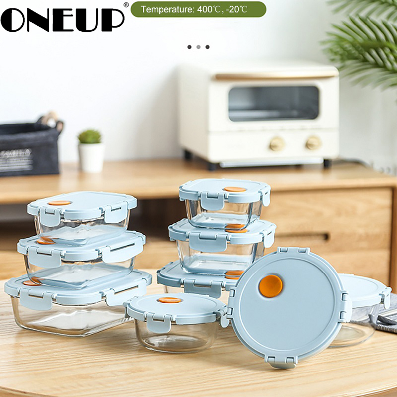 ONEUP New Glass Insulated Lunch Box With Compartments Leakproof Bento Box Microwave Oven Box Kitchen Meal Storage Box
