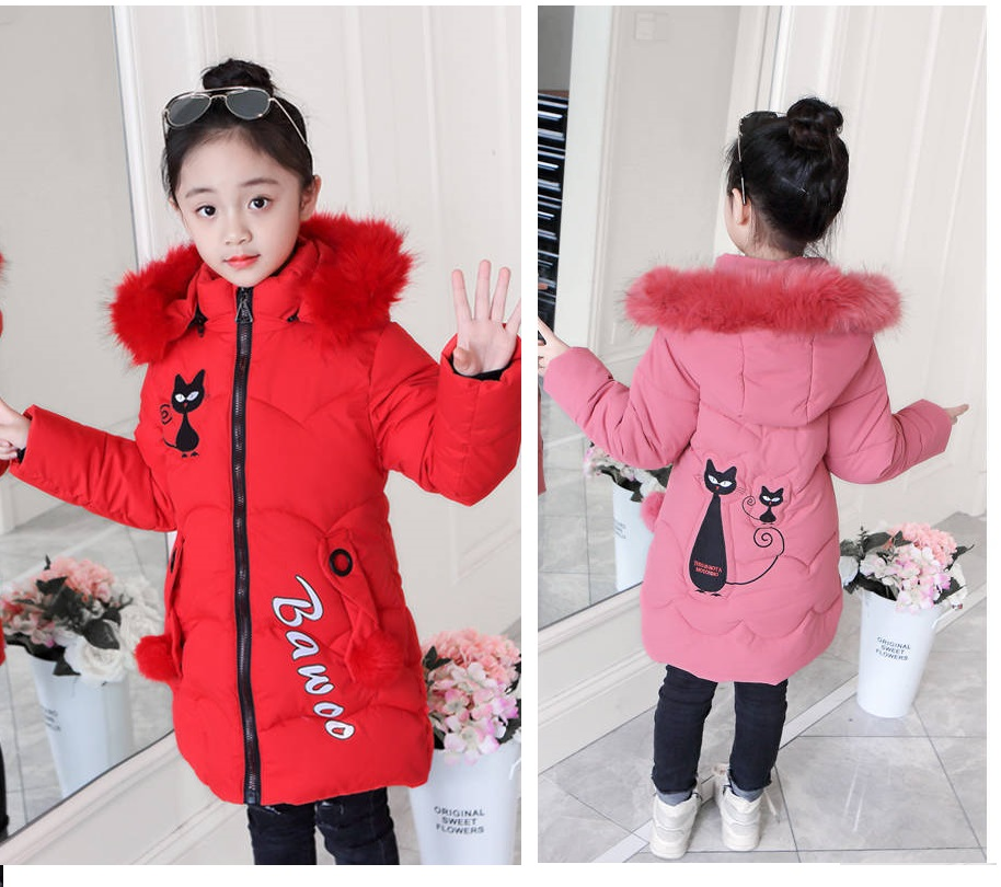 Image 5 - 2019 Girls Down Jackets Baby Outdoor Warm Clothing Thick Coats Windproof Children's Winter Jackets Kids Cartoon Winter Outerwear-in Down & Parkas from Mother & Kids