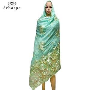 Image 3 - Женские шарфики с мусульманской вышивкой в африканском стиле, мягкий хлопковый большой шарф для шали, Пашмина BM937