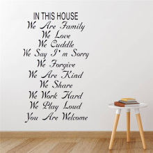 New Design Stair Riser Stickers In This House Family Rules Home Decor Quotes Vinyl Wall Decal Decorative Adesivo De Parede yoyoyu wall decal quotes the kitchen is where the heart is vinyl wall stickers modern design fashion home decor interior diycy74