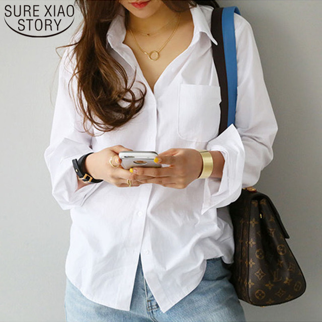 Top Long Sleeve Casual White Turn-down Collar Loose Blouses 1