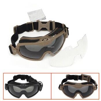 Gafas de combate táctico, 2 lentes intercambiables antiniebla, militares, Airsoft, a prueba de viento, para motocicleta, caza, juego de guerra