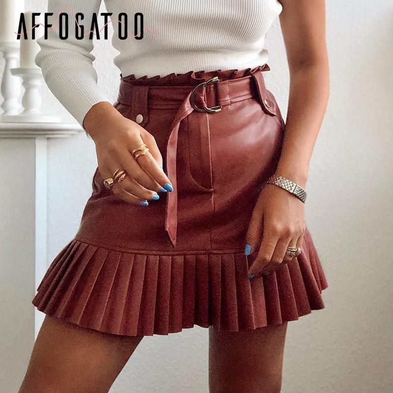 Affogatoo Sexy Party Club Belt PU Leather Mini Skirt Women Elegant Ruffle High Waist Female Skirt Chic Autumn Ladies Short Skirt