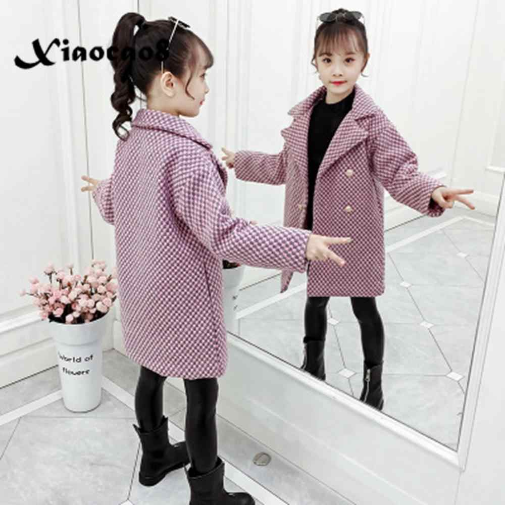 2019 Winter Girls Woolen Jackets Kids Plaid Thicken Coats Children Autumn Clothes Warm Casual Big Girls Outwear Long Jacket Coat