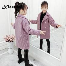 2019 Winter Girls Woolen Jackets Kids Plaid Thicken Coats Ch