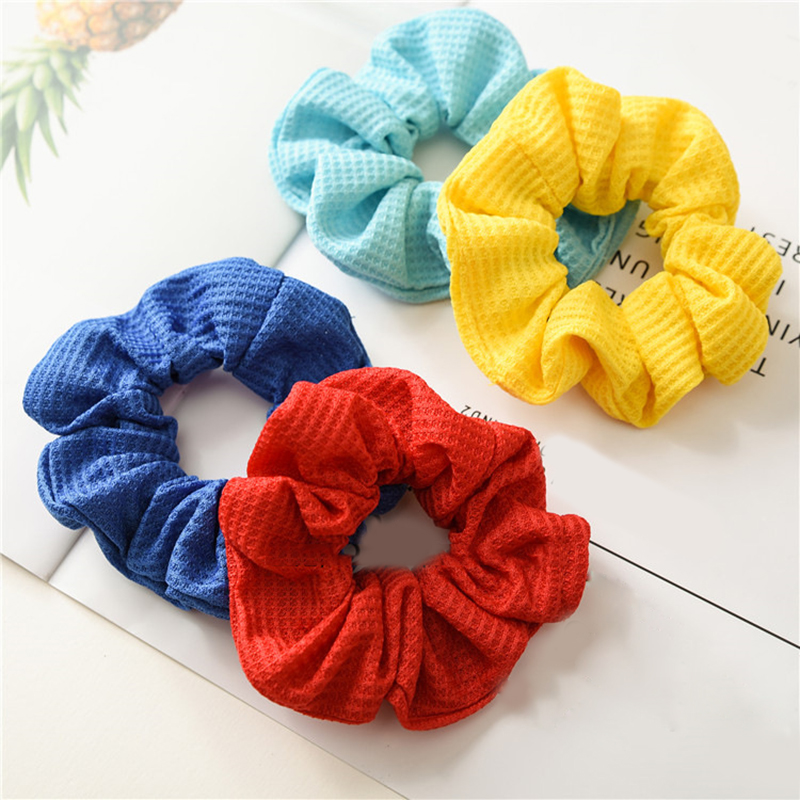 New Soft Cotton Ribbed Solid Color Scrunchies Elastic Hair Bands Hair Ties Women Girls Sweet Colorful Hair Accessories   Headwear