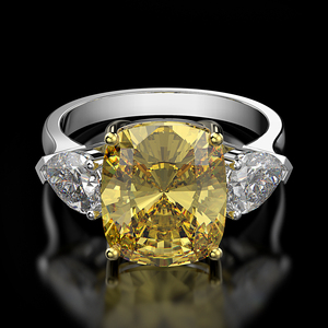 Image 4 - Rainbamabom 925 solidna srebro cytryn Moissanite kamień ślub zaręczynowy pierścionek koktajlowy kobiety biżuterii hurtowych