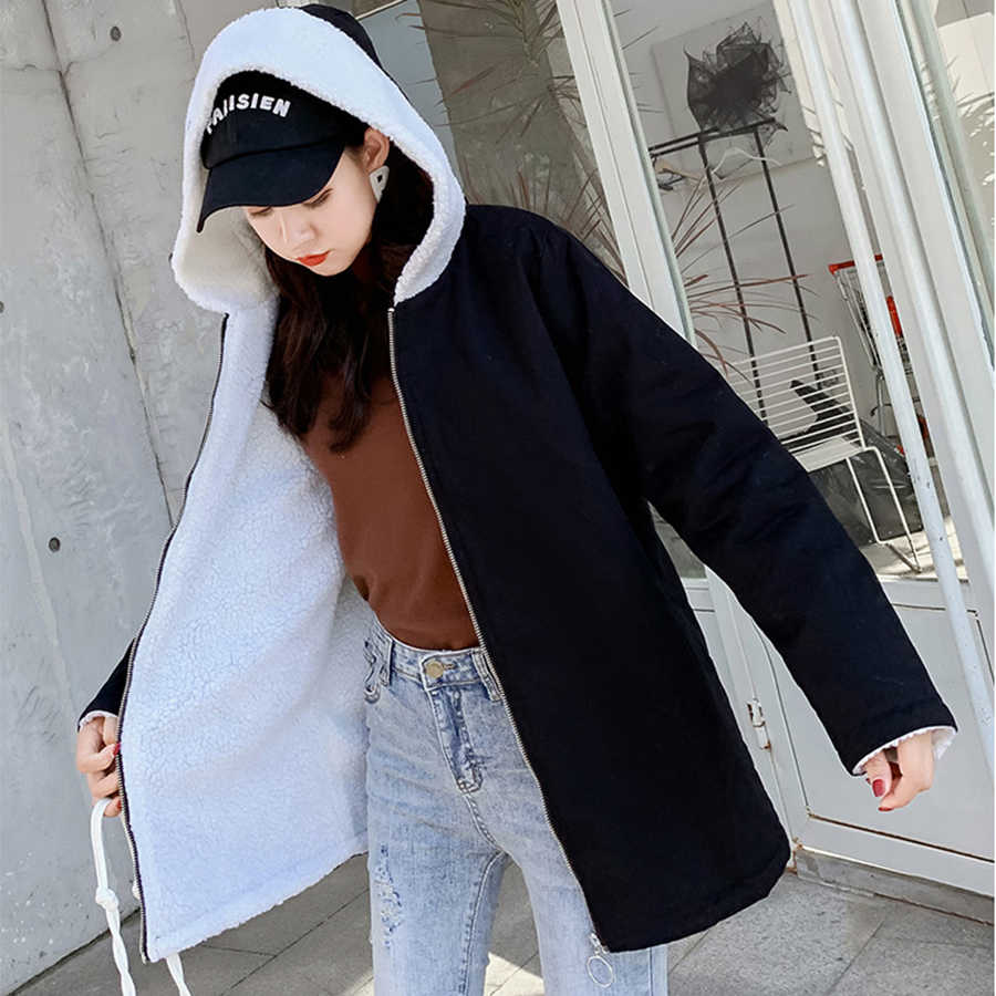Cute Cat Print Plush Parka Coat Women Winter Casual Warm Hooded Cotton Liner Parkas Jackets Female Korean Loose Cotton Outerwear