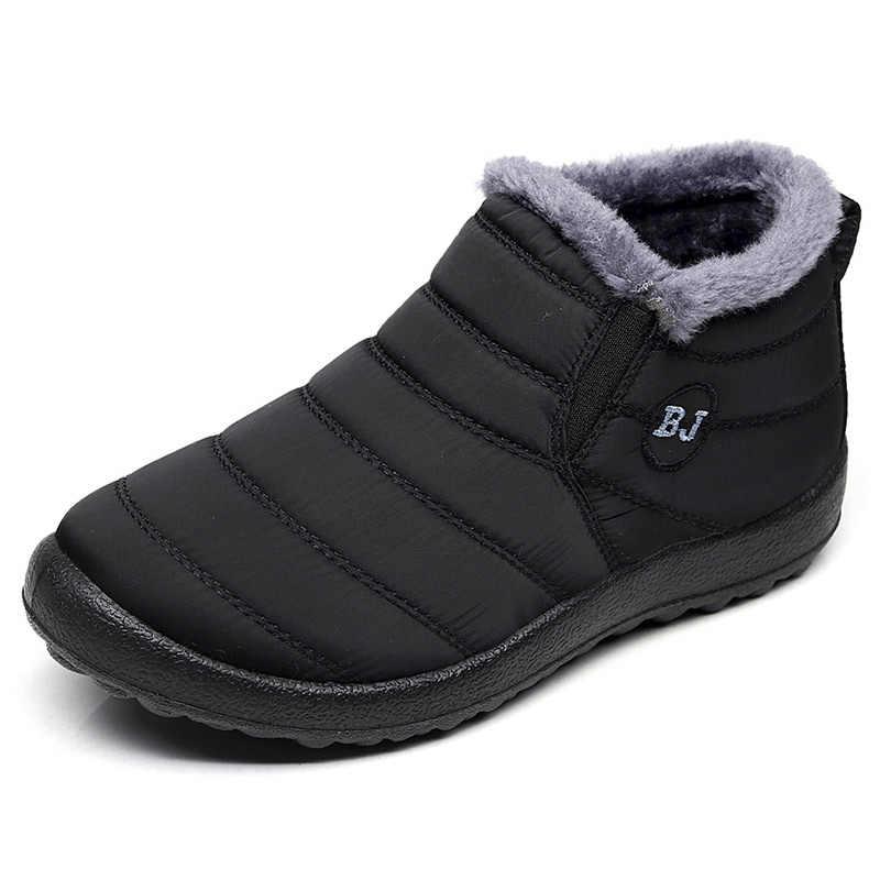 Kış ayakkabı erkek botları 2019 erkek kar botları moda erkek yarım çizmeler su geçirmez ayakkabı sıcak kürk üzerinde kayma erkek ayakkabı