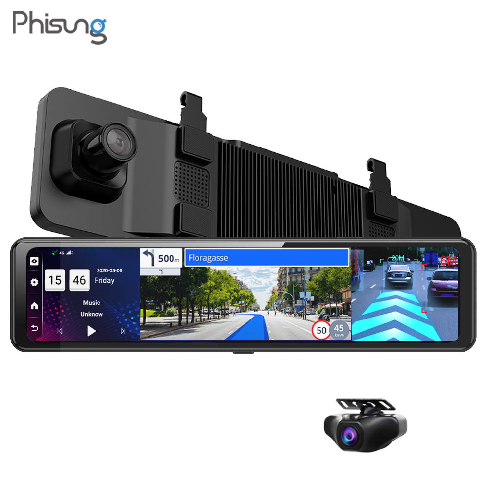 "Phisung 3 Split Screen 12""4G Android 8.1 Car Rearview Mirror Camera 2+32G dual dvr ADAS WiFi BT 4.0 Dash Cam dvrs video recorder"