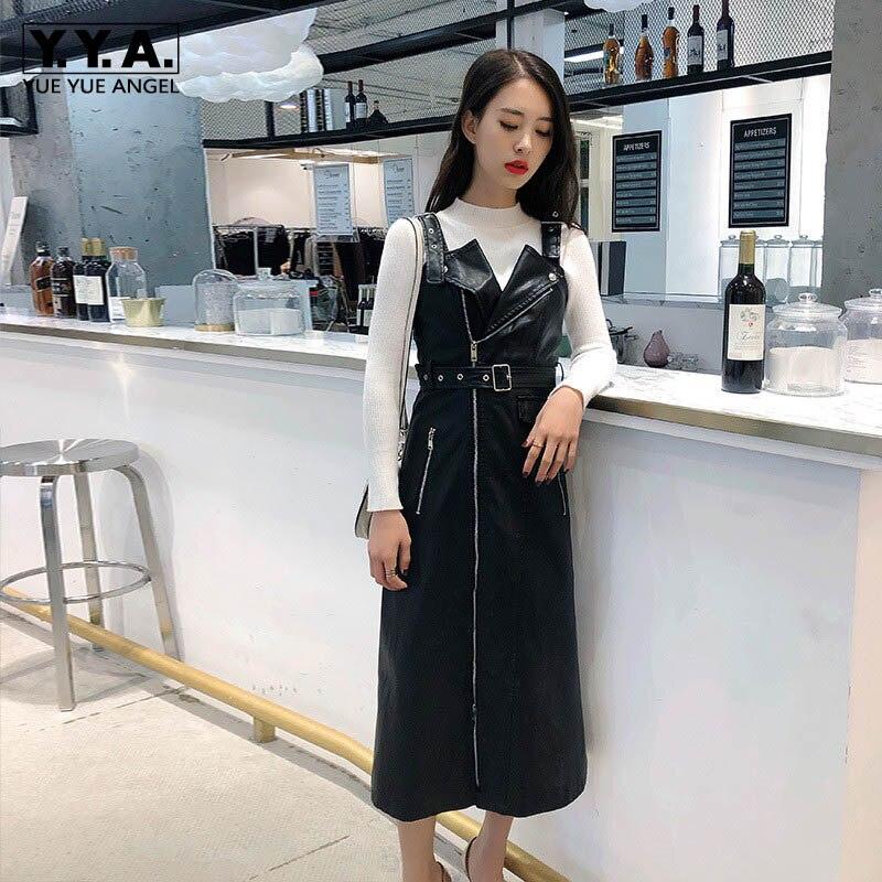 Automne nouveau Midi Slim Fit Pu cuir sangle robe Streetwear fermeture éclair ceinture Biker Punk taille haute robe rouge noir vert grande taille 5XL