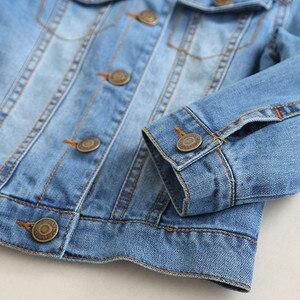 Image 5 - 子供のジャケット 2019 春と秋の新ガールズファッションデニムジャケット女の子の花の刺繍長袖ラペルジャケット