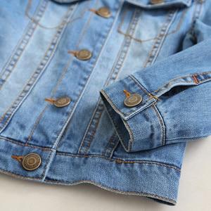 Image 5 - childrens jacket 2019 spring and autumn new girls fashion denim jacket girls flower embroidery long sleeved lapel jacket