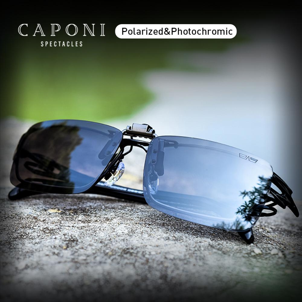 CAPONI Sunglasses Clip Men Photochromic Polarized Vintage Day And Night Eye Glasses Clip UV400 Protect Driving Eyewear BS1101Mens Sunglasses   -