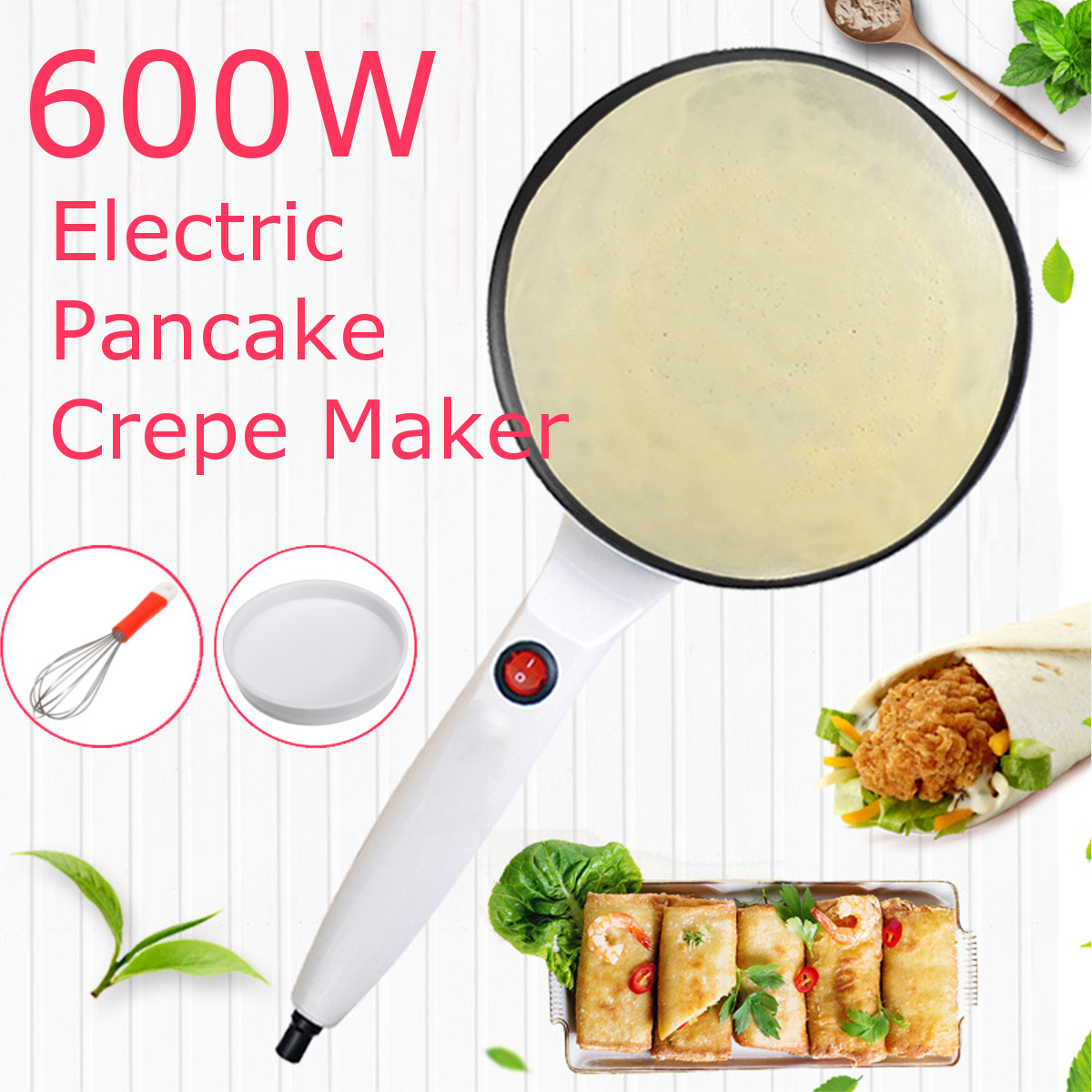 220V Non-stick Electric Crepe Pizza Maker Pancake Machine Non-stick Griddle Baking Pan Cake Machine Kitchen Cooking Tools Crepe