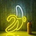 Bananeira em forma de néon sinais led luzes de néon arte parede decorativa usb luzes para sala parede crianças quarto presente aniversário festa barra decoração