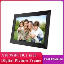 A10 wifi 10.1インチデジタル写真フレーム1280 × 800のipsタッチスクリーン16ギガバイトスマートフォトフレームアプリ制御取り外し可能なホルダー